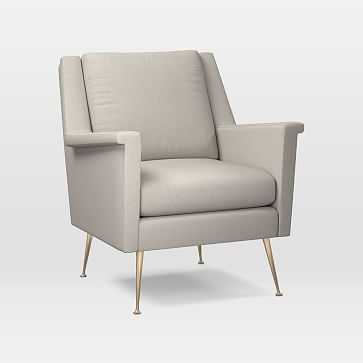 Carlo Midcentury Chair, Poly, Yarn Dyed Linen Weave, Alabaster, Brass - West Elm