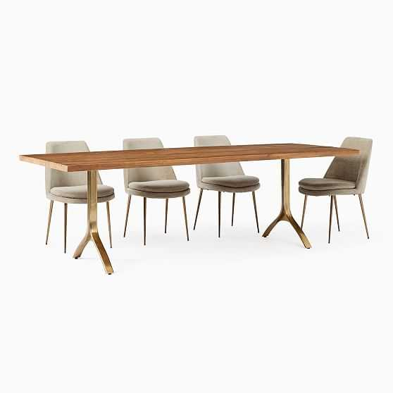 """Avery Wishbone Dining Table, 94"""", Natural, Antique Brass - West Elm"""