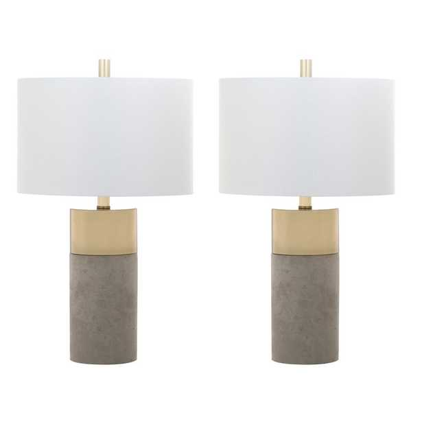 Safavieh Oliver 24 in. Grey Table Lamp (Set of 2) - Home Depot