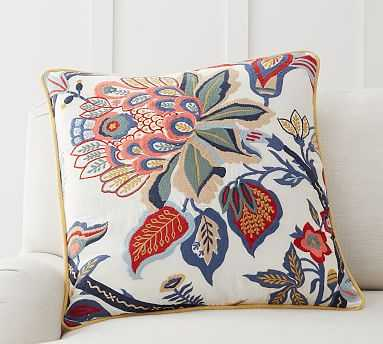 """Adelio Floral Embroidered Pillow Cover, 22 x 22"""", Warm Multi - Pottery Barn"""