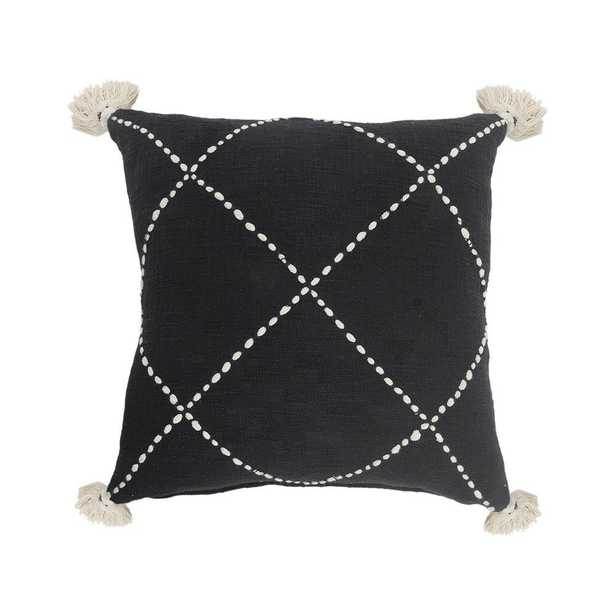 LR Home Geometric Black / White Crossed Circle Tasseled Cozy Poly-fill 20 in. x 20 in. Throw Pillow - Home Depot