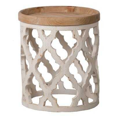 Bittinger Large Side Table - Distressed White, Natural - Wayfair