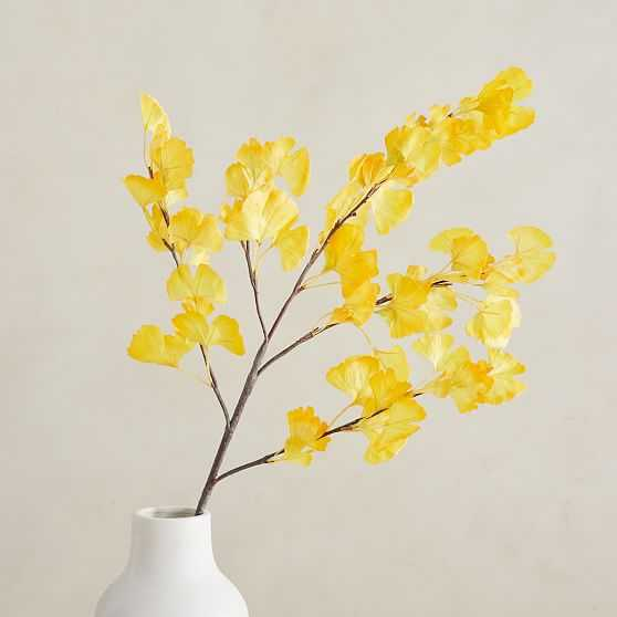 """Faux Gingko Branch, Yellow, 48"""" - West Elm"""