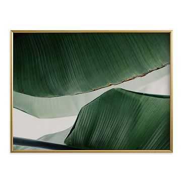 """Leaf & Light 4, Full Bleed 40""""x30"""", Gilded Wood Frame - West Elm"""