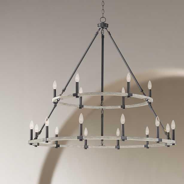 "Caroline 46 1/4""W Black and Wood 2-Tier 18-Light Chandelier - Style # 79A06 - Lamps Plus"