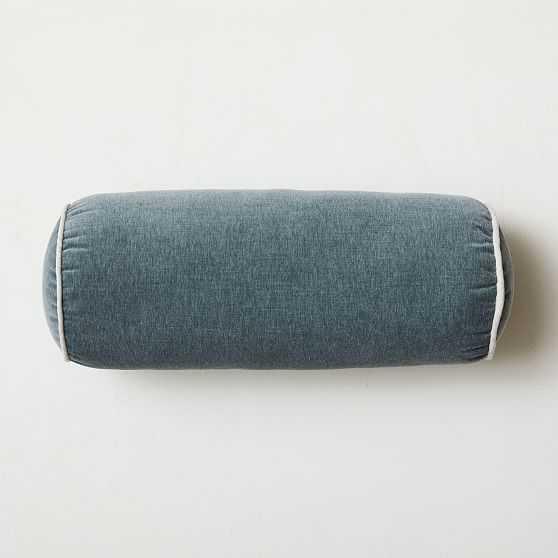 """Cotton Velvet Bolster, 8""""x20"""", Ocean - West Elm"""
