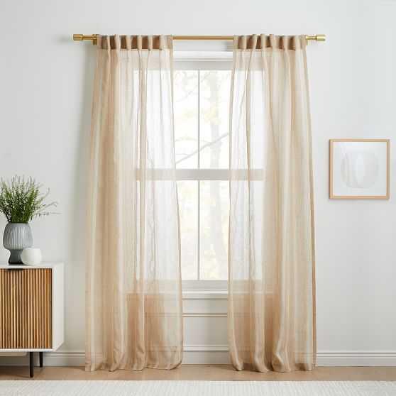 "Sheer Linen Cotton Mini Stripe Curtain, Natural/Stone White, 48""x96"" - West Elm"