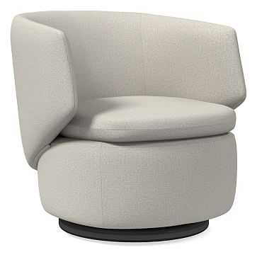 Crescent Swivel Chair, Poly, Basket Slub, Pearl Gray, Concealed Supports - West Elm
