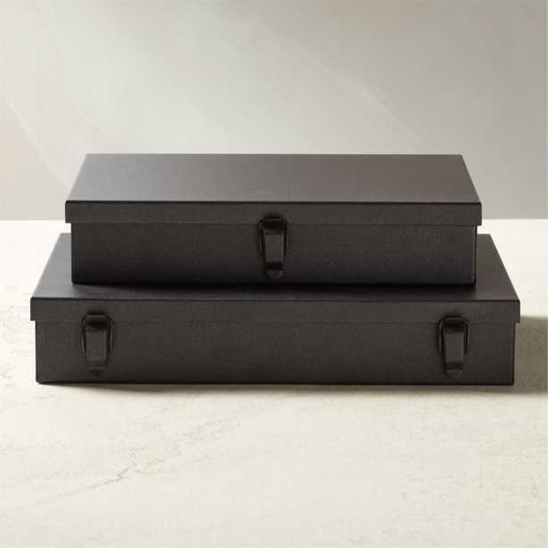 Italian Metal Storage Boxes Set of 2 - CB2