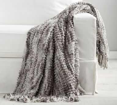 "Woven Faux Fur Throw, 50 x 60"", Gray Multi - Pottery Barn"