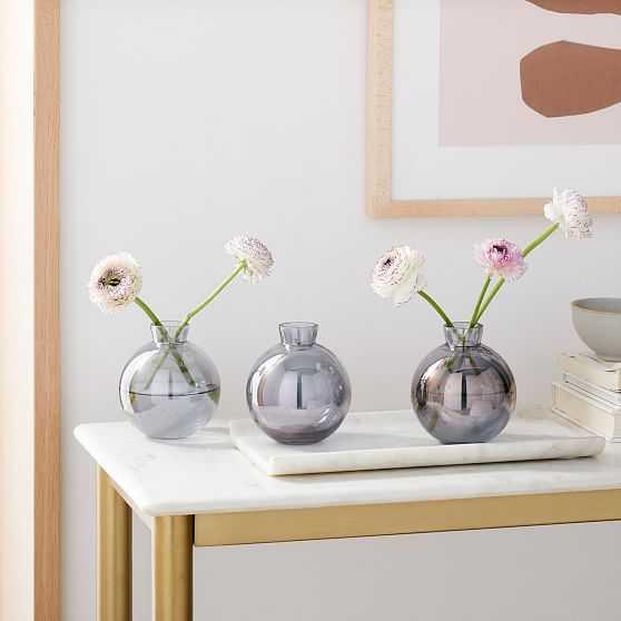 OPP Glass Round Bud Vase, Set of 3, Smoke - West Elm