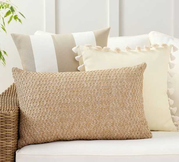 Simple Stripes Natural Indoor/Outdoor Pillow Set - Pottery Barn