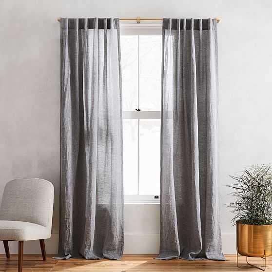 "Semi-Sheer European Flax Linen Melange Curtain, Blackout Lining, Slate, 48""x84"" - West Elm"