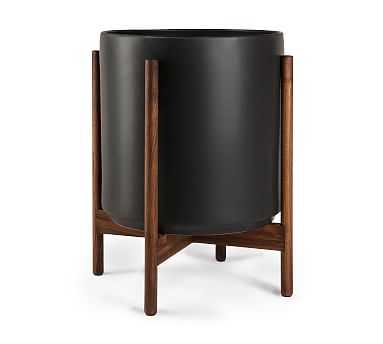 Modern Ceramic Planters with Wooden Stand, Black - Large - Pottery Barn