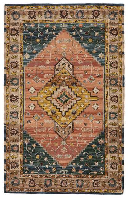 Vibe by Seraphina Handmade Medallion Pink/ Yellow Area Rug (5'X8') - Collective Weavers
