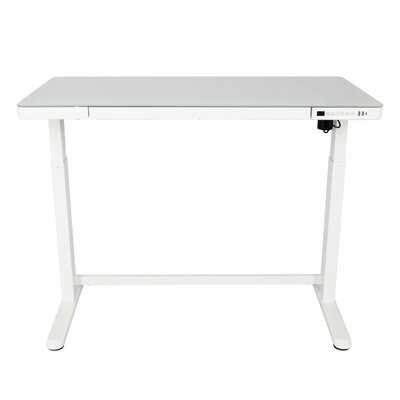 "Jefferson Electric Stand Up Desk Workstation With Glass Desktop, 47.37"" X 23.75"" Height Adjustable Standing Desk And Built-In Ergonomic Memory Controller Keypad (Black) - Wayfair"