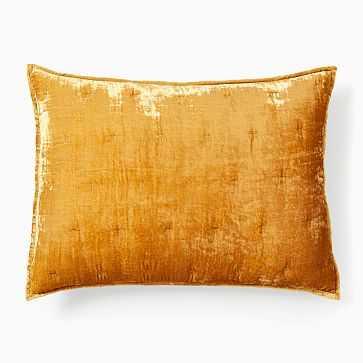 Lush Velvet Tack Stitch Quilt, Standard Sham, Golden Oak - West Elm