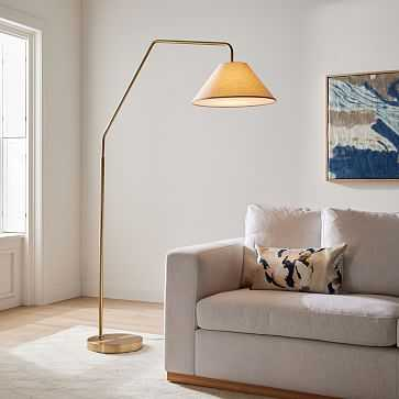 """Sculptural Overarching Floor Lamp, Fabric Cone 18"""" Natural, Antique Brass, 18"""" - West Elm"""