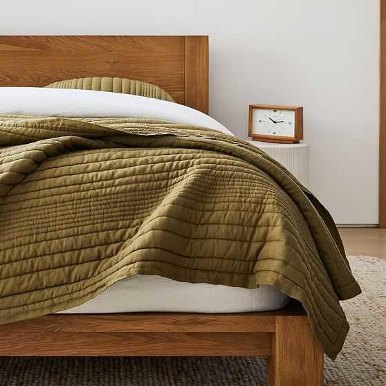 European Flax Linen Linework Quilt, King, Cedar - West Elm
