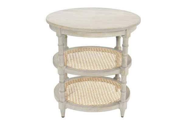 Round Mango Wood Table with 2 Cane Shelves - Nomad Home