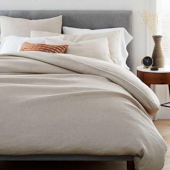 Hemp Cotton Solid Duvet & King Sham, Desert Flax, King - West Elm