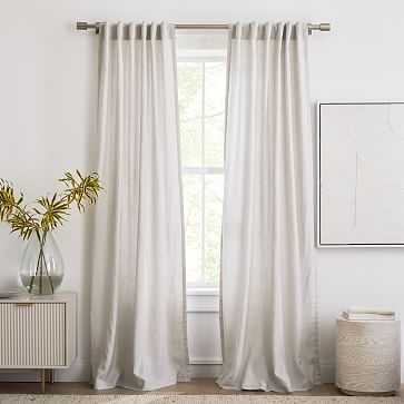 "Sheer European Flax Linen Curtain, Pearl Gray, 48""x96"", Set of 2 - West Elm"