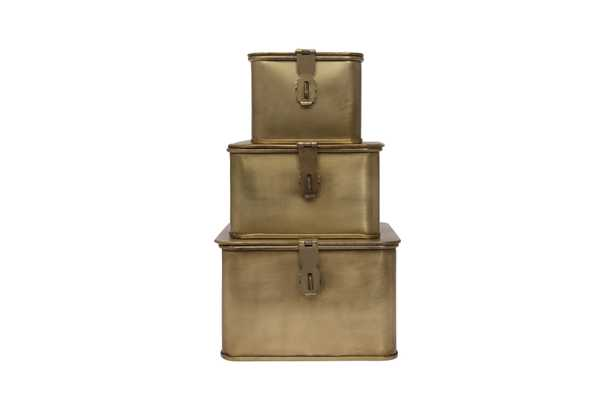Square Decorative Metal Boxes with Gold Finish (Set of 3 Sizes) - Nomad Home