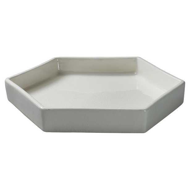 Jett Coastal Beach Novelty White Ceramic Tray - Kathy Kuo Home