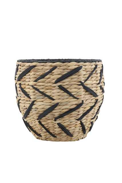 Woven Seagrass Basket with Black Design & Rim - Moss & Wilder