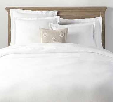 Belgian Flax Linen Double Flange Duvet Cover, Full/Queen, White - Pottery Barn