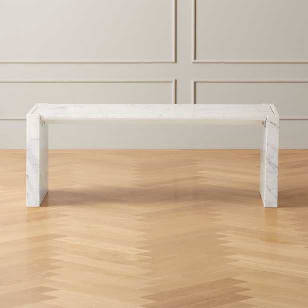 Stretch White Marble Coffee Table - CB2