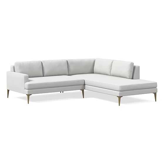 Andes 2-Seat Left Arm 2-Piece Terminal Chaise Sectional, Performance Washed Canvas, Stone White, BB - West Elm