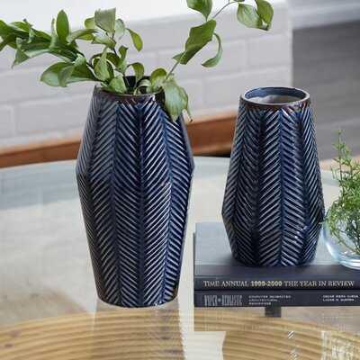 "Set Of 2 Dark Blue Ceramic Contemporary Vase 11"", 8""H - Wayfair"