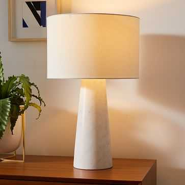 """Foundational Marble Table Lamps, 22"""", White & White Linen - West Elm"""