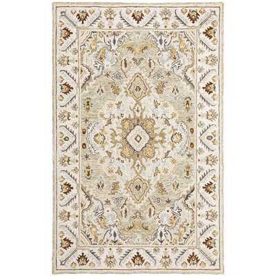 Madlin Oriental Handmade Looped Wool Ivory/Beige Area Rug - Wayfair