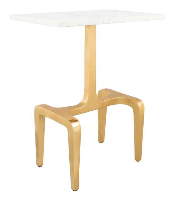 Clement Side Table White & Gold - Zuri Studios