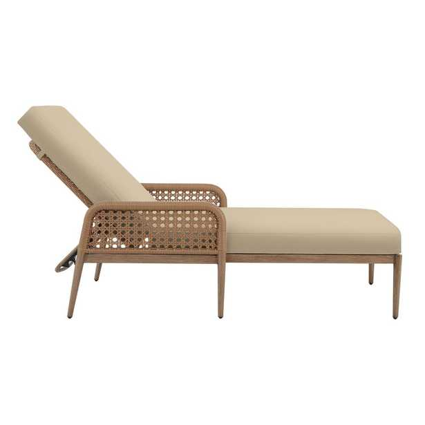 Hampton Bay Coral Vista Brown Wicker Outdoor Patio Chaise Lounge with CushionGuard Putty Tan Cushions - Home Depot