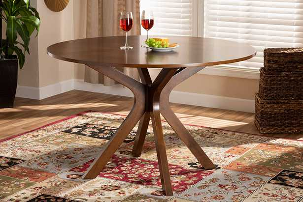 Baxton Studio Kenji Modern and Contemporary Walnut Brown Finished 48-Inch-Wide Round Wood Dining Table - Lark Interiors