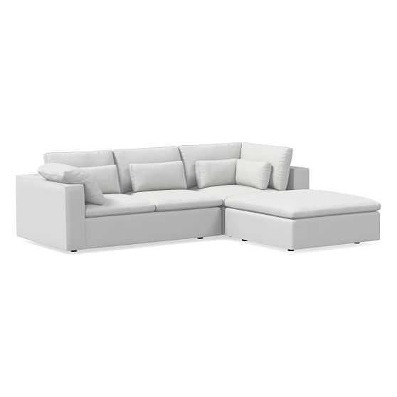 Harmony Modular Sectional Set 01: Left Arm Sofa & Corner & Ottoman, Down, Performance Washed Canvas, Stone White - West Elm