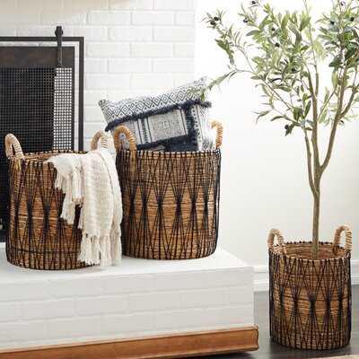 Banana Leaf 3 Piece Wicker Basket Set - Wayfair