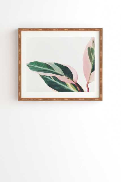 "Pink Leaves Ii by Cassia Beck - Framed Wall Art Bamboo 19"" x 22.4"" - Wander Print Co."