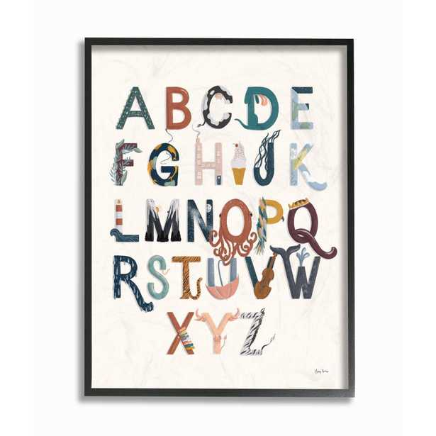 """The Kids Room by Stupell 11 in. x 14 in. """"Alphabets Instruments Kids Nursery"""" by Becky Thorns Framed Wall Art, Multi-Colored - Home Depot"""