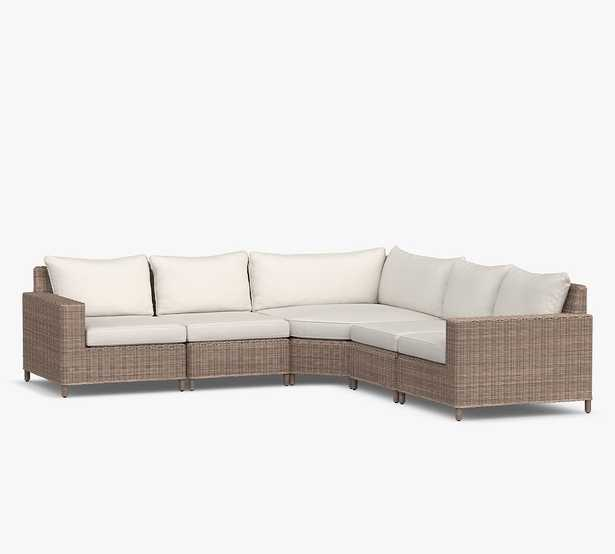 Torrey All-Weather Wicker 5-Piece Square Arm Wedge Corner Sectional with Cushion (1 LA, 1 RA, 2 Armless, 1 Wedge Corner), Natural - Pottery Barn