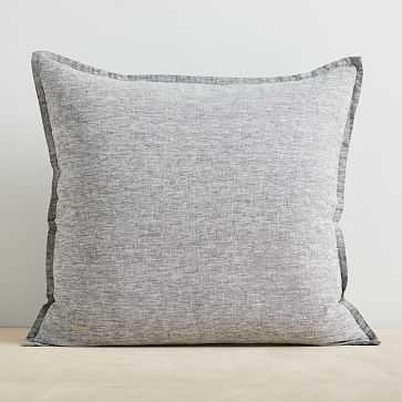 "European Flax Linen Pillow Cover, 24""x24"", Slate Melange - West Elm"