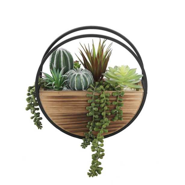 FLORA BUNDA 11 in. Round Wood and Metal Wall Faux Succulents Mix - Home Depot