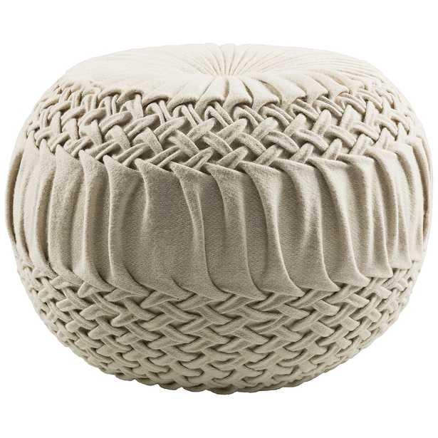 Surya Alana Cream Wool Felted Pouf Ottoman - Style # 91H65 - Lamps Plus