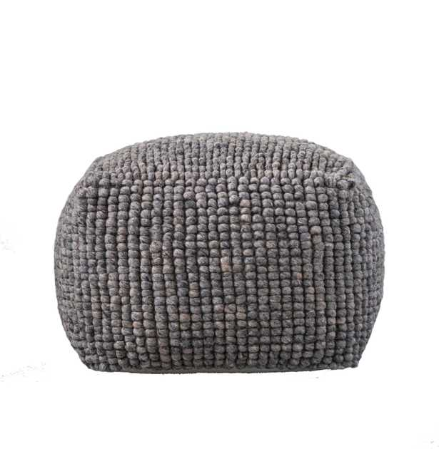 Grey Square Wool Blend Textured Pouf - Nomad Home