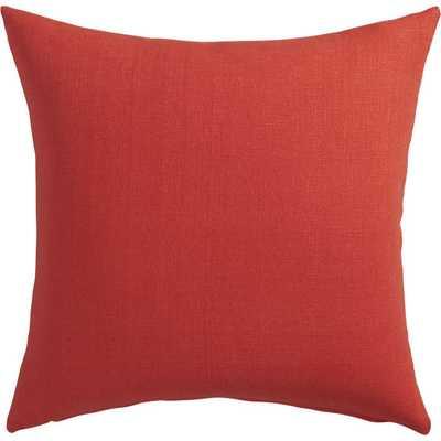 "Linon red-orange 20"" pillow - polyester fill insert - CB2"