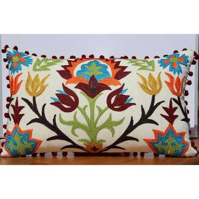 Embroidery Decorative Pillow- insert included - Overstock