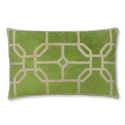 """Cut Suede Geo Pillow Cover, Green-14 x 22""""-no insert - Williams Sonoma"""